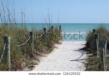 Sandy Path to a White Sand Beach - stock photo