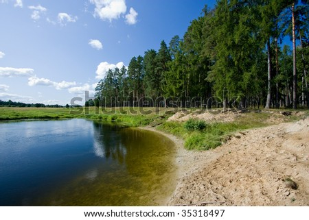 sandy riverside near the coniferous forest - stock photo
