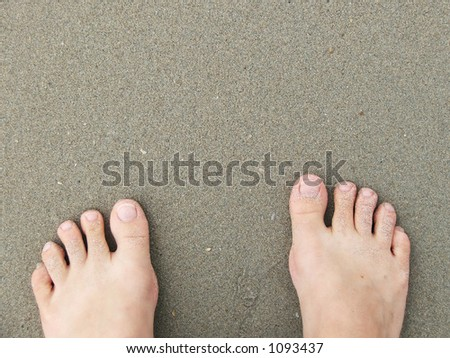 Sandy toes stand at the water's edge - stock photo