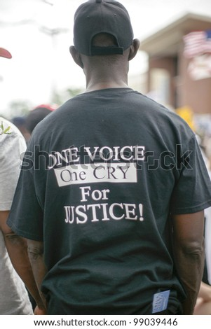 SANFORD, FL-MARCH 31: Protesters rally towards the Sanford Police department in support of Trayvon Martin. March 31, 2012 in Sanford Florida.