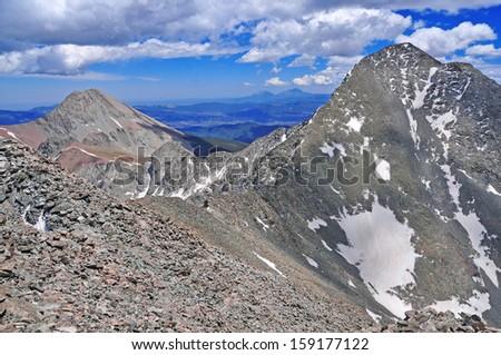 Sangre de Cristo Range showing Blanca Peak (R) and Mount Lindsey (L), Rocky Mountains Colorado. USA - stock photo