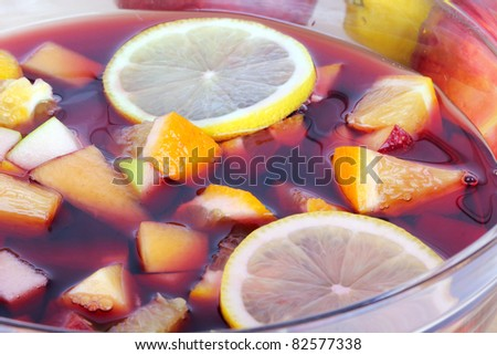 Sangria in bowl, closeup - stock photo