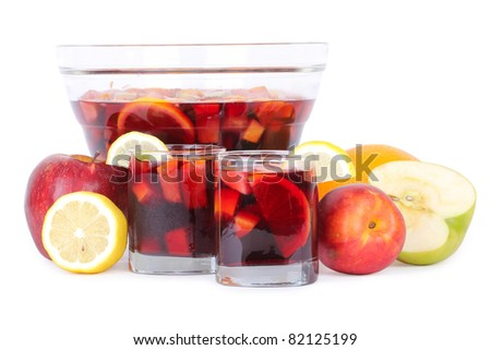 Sangria in glass bowl, isolated on white - stock photo
