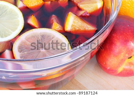 Sangria red wine with summer fruits - stock photo