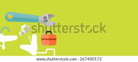 Sanitary works. Toolbox and wrench. Engineer character. Flat icon modern design style concept. Raster version - stock photo