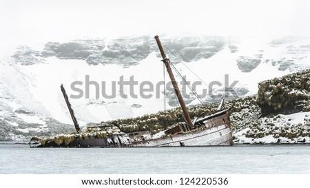 Sank ship near the coast of Olav Rocks, a small group of rocks lying, east-southeast of Cape Crewe off the north coast of South Georgia - stock photo