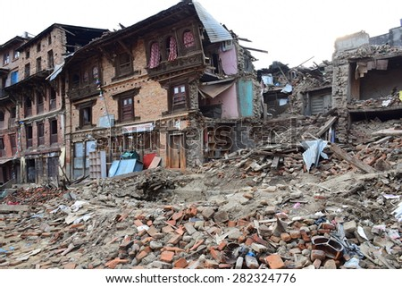 Sankhu ,Kathmandu Nepal - May 11 2015 : Collapsed building after earthquake disaster