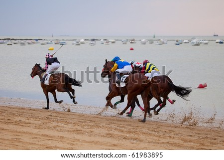 SANLUCAR DE BARRAMEDA, CADIZ - AUG 7: Horses races on August 7, 2010 on the beach of Sanlucar de Barrameda, Cadiz, Spain. These races are one of the most important of the world