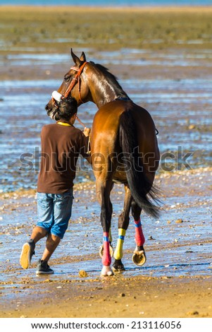 SANLUCAR DE BARRAMEDA, CADIZ, SPAIN - AUG 8: Unidentified rider at the start of the first horses race called Gran Hipodromo Javier Pi���±ar on August 8, 2014 in Sanlucar de Barrameda, Cadiz, Spain.