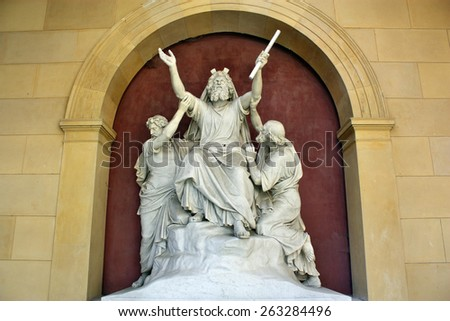 Sanssouci, Potsdam, Germany - May 19, 2013: Statue of a saint in Sanssouci Palace. Sanssouci was the summer residence of Frederick the Great. - stock photo
