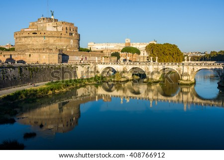 Sant'Angelo Bridge and Sant'Angelo Castle in Rome, Italy