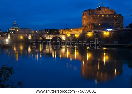 Sant'Angelo Castle, the Sant'Angelo bridge and Michelangelo's Dome