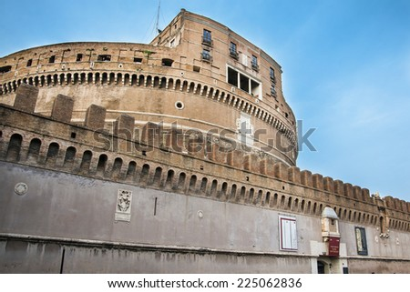 sant'angelo fortress in rome during a sunny day - stock photo