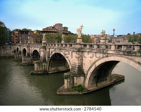 Sant Angelo Ponte in Rome (Italia) crossing the river Tiber