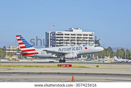 SANTA ANA/CALIFORNIA - AUG. 17, 2015: American Airlines Airbus 319-132 commercial jet departs from John Wayne International Airport in Santa Ana, California, USA - stock photo