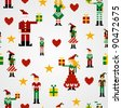 Santa and elves pixel characters christmas design. Seamless pattern illustration background. - stock vector