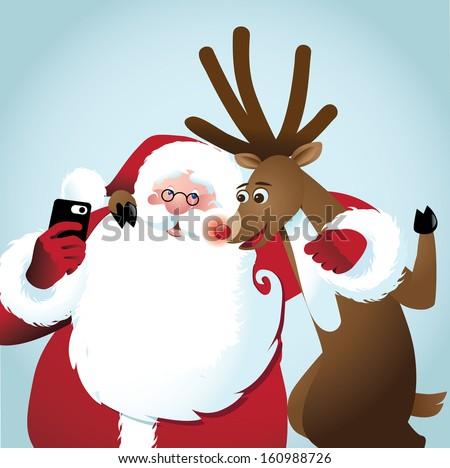 Santa and reindeer take a selfie. jpg. - stock photo