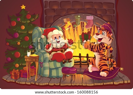 Santa and Tiger. Greeting card with symbols of Christmas and New Year.  - stock photo