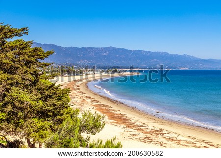 Santa Barbara Beach view,  California - stock photo