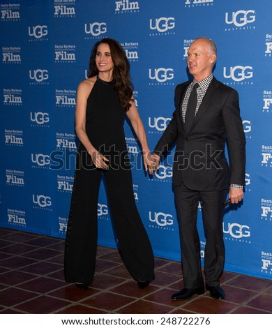 SANTA BARBARA, CA - JANUARY 31, 2015: Actress Andie MacDowell and Actor Michael Keaton attend the 30th Santa Barbara International Film Festival where he will receive the Modern Master Award #SBIFF - stock photo