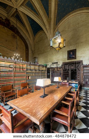 SANTA BARBARA, CALIFORNIA - AUGUST 1: Law library in the Santa Barbara County Courthouse on Anacapa Street on August 1, 2016 in Santa Barbara, California