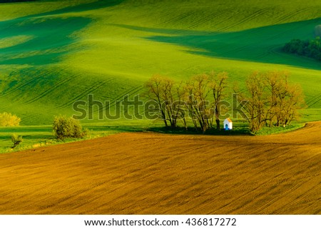 Santa Barbara chapel landscape at spring in South Moravia, Czech Republic - stock photo
