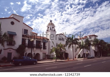 Santa Barbara is located about 90 miles WNW of Los Angeles, along the Pacific coast. - stock photo