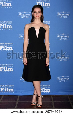 SANTA BARBARA - JAN 29:  Felicity Jones at the Santa Barbara International Film Festival - Cinema Vanguard Award at a Arlington Theater on January 29, 2015 in Santa Barbara, CA - stock photo