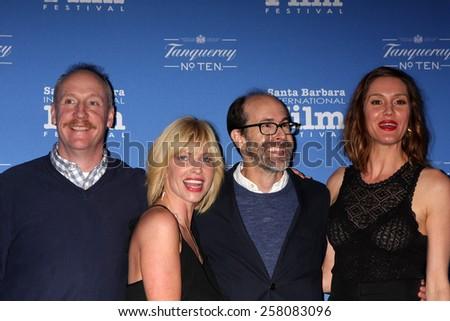 SANTA BARBARA - JAN 29:  Matt Walsh, Morgan Walsh, Brian Huskey, Erinn Hayes at the Santa Barbara International Film Festival at Arlington Theater on January 29, 2015 in Santa Barbara, CA - stock photo