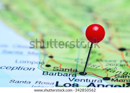 Santa Barbara pinned on a map of USA  - stock photo