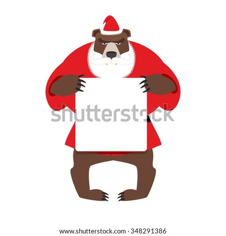 Santa bear keep clean banner with space for text. Wild animal with beard and moustache. Woodland Beast in clothes of Santa Claus: red jacket and Christmas hat. - stock photo
