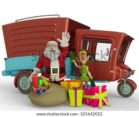 santa car side viewand santa helper going to xmas 3 - stock photo