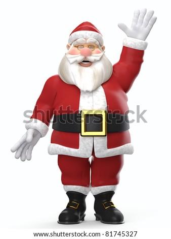 santa cartoon hello - stock photo
