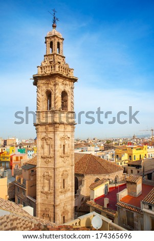 Santa Catalina church tower in Valencia historic downtown Spain - stock photo