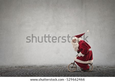 Santa changed the sleigh to a little bike