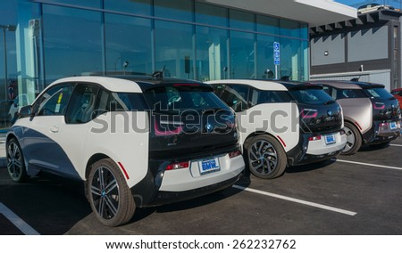 SANTA CLARA, CA/USA - FEBRUARY 16: BMW electric cars on display on Feb 16, 2015 in Santa Clara, CA. BMW is a German automobile, motorcycle and engine manufacturing company, headquartered in Munich.