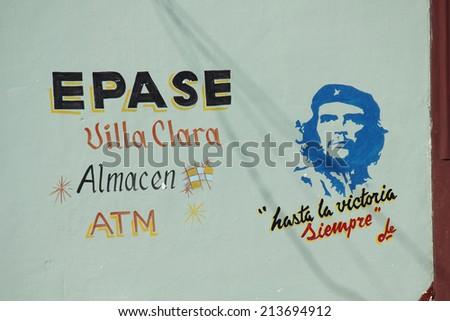 Santa Clara, Cuba, August 20, 2012: Cuba's politic propaganda. A wall script in favour of the revolution.Until Victory, forever - stock photo