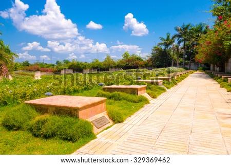 SANTA CLARA, CUBA - DECEMBER 14, 2014 The Che Guevara Memorial in Santa Clara, Cuba. Tombs and remains of revolutianoary fighters and eternal flame  - stock photo