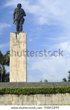 Santa Clara, Cuba - February 3, 2007: Che Guevara bronze statue in Revolution  Square. Che participated in the Cuban revolution and the organization of the Cuban state  and died in Bolivia in 1967. - stock photo