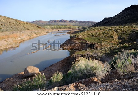 Santa Clara River above Gunlock Reservoir - Utah - stock photo