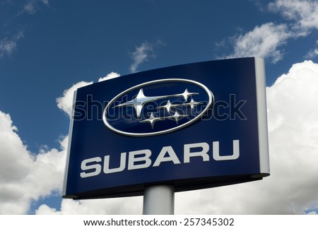 SANTA CLARITA, CA/USA - MARCH 1, 2015: Subaru automobile dealership and sign. Subaru is the automobile manufacturing division of Fuji Heavy Industries. - stock photo