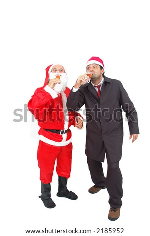 Santa Claus and a Man celebrating the Christmas and New Year - stock photo