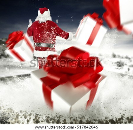santa claus and boxes