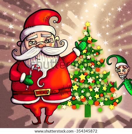 Santa Claus and Christmas Elf with Christmas Tree. Vintage Christmas card - stock photo