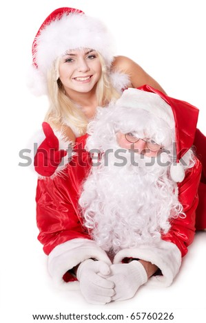 Santa claus and christmas girl show thumb up. Isolated.