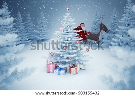 Santa Claus and Christmas tree / 3d render