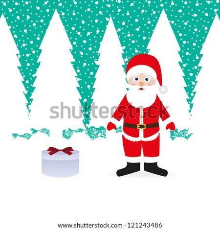 Santa Claus and gift - stock photo