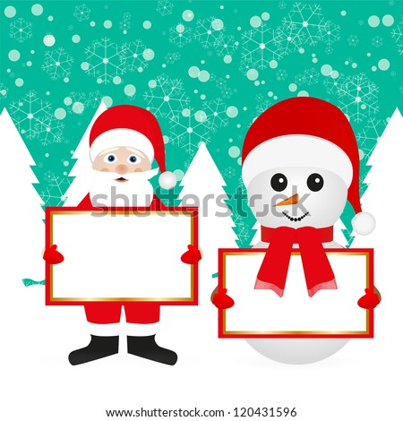 Santa Claus and snowman in the woods with empty banner - stock photo