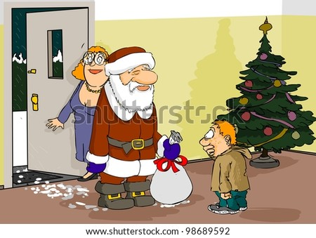Santa Claus arrived at the boy with a gift bag - stock photo
