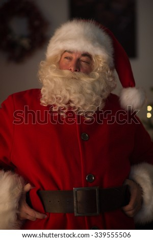 Santa Claus at Home. Closeup Portrait - stock photo